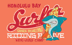 Surfing shark. Vector artwork for children wear in custom colors, grunge effect in separate layer royalty free illustration