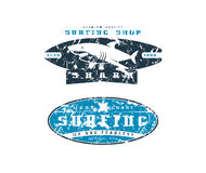Surfing shop emblems. Graphic design for t-shirt. Color print on white background Stock Photos