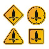Surfing signs Stock Photography