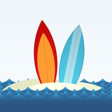 Surfing. Simple vector illustration of two surfing boards standing on the beach sand. EPS10 Royalty Free Stock Photos