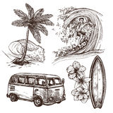 Surfing Sketch Icon Set. Surfing sport and lifestyle wave surfboard beach and van sketch decorative icon set  vector illustration Royalty Free Stock Images