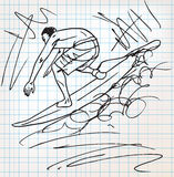 Surfing sketch illustration Royalty Free Stock Photography