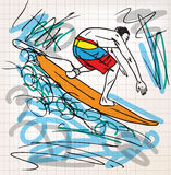 Surfing sketch illustration Stock Photography