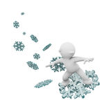 Surfing on a snowflake Royalty Free Stock Image