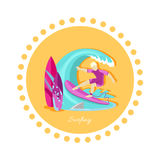 Surfing Sport Icon Flat Design Stock Photos