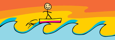 Surfing Stick Figure Royalty Free Stock Photos