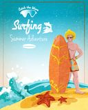 Surfing summer adventure poster Royalty Free Stock Photos