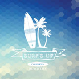 Surfing summer icon, vector label. Stock Photo