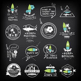 Surfing summer icons,vector labels collection. Stock Photography