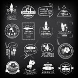 Surfing summer icons,vector labels collection. Royalty Free Stock Photography