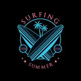Surfing summer logo estd 1986, design element can be used for surf club, shop, t shirt print, emblem, badge, label. Flyer, banner, poster vector Illustration royalty free illustration