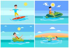Surfing Summer Sport, Set Vector Illustration. Surfing summer, sport collection, jet ski and donut ride, swimming person and ship on water and seascapes, vector royalty free illustration