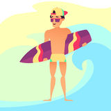 Surfing summer vacation, Surfer guy with surfboard. Cartoon style Royalty Free Stock Images