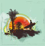 Surfing in the Summertime stock illustration