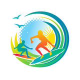 Surfing. Sunny surfers in the ocean waves,  illustration Stock Images