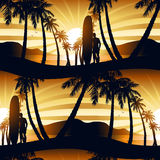 Surfing at Sunrise with a longboarder seamless pattern Stock Image