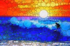 Surfing at sunset royalty free illustration
