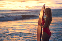 Surfing at sunset Royalty Free Stock Image