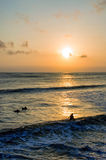 Surfing at Sunset. Backlight Silhouette Surfer in the Ocean at Sunset Royalty Free Stock Images