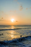 Surfing at Sunset. Backlight Silhouette Surfer in the Ocean at Sunset Stock Photos