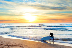 Surfing at sunset. Surfer getting ready for surfing on the beach at sunset Royalty Free Stock Images