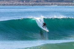 Surfing Surfer Rides Wave Stock Photos