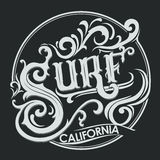 Surfing t-shirt graphic design Stock Image