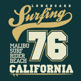 Surfing t-shirt graphic design Stock Photography