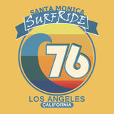 Surfing t-shirt graphic design. Santa Monica Royalty Free Stock Photo