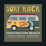 Surfing t-shirt graphic design. Vintage Retro Surf. BUS. Surf Lifestyle. Huntington Beach. Surf typography label, summer, ocean, California, retro style emblem Royalty Free Stock Photo