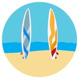 Surfing tables flat illustration Royalty Free Stock Photos