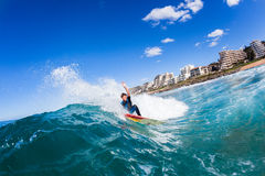 Surfing Teen Surfer Water Wave Action Stock Image