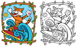 Surfing Tiger Royalty Free Stock Image