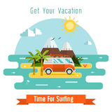 Surfing Time Vector Postcard Background Royalty Free Stock Photos