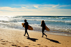 Surfing together Stock Photography