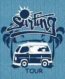 Surfing tour van print on a bamboo background Stock Photography