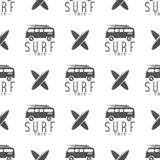 Surfing trip pattern design. Summer seamless with surfer van, surfboards. Monochrome combi car. illustration. Use for Royalty Free Stock Image