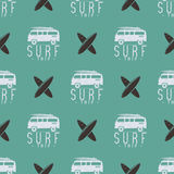 Surfing trip pattern design. Summer seamless with surfer van, surfboards.   Royalty Free Stock Image