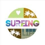 Surfing typografia Obrazy Stock