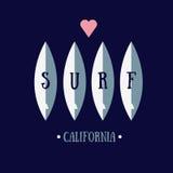 Surfing typografia Fotografia Stock
