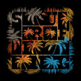 Surfing typography poster. T-shirt fashion Design. Royalty Free Stock Photo