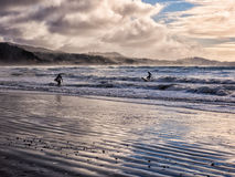 Surfing under a winter sunset Stock Image