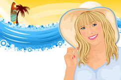 Surfing vacation with beautiful girl Royalty Free Stock Image