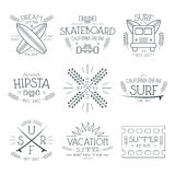 Surfing and vacation emblem Stock Photo