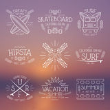 Surfing and vacation emblem Royalty Free Stock Image