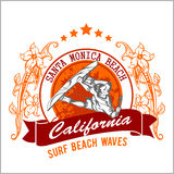 Surfing - vector label and surfers Stock Photography