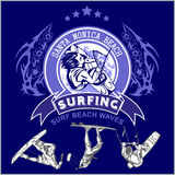 Surfing - vector label and surfers Royalty Free Stock Photos