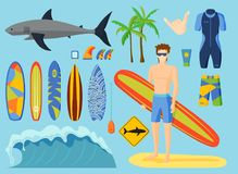Surfing vector set. royalty free illustration