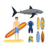Surfing vector set. stock illustration