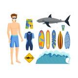 Surfing vector set. vector illustration